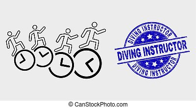 Vector Outline People Run Over Clocks Icon and Distress Diving Instructor Watermark