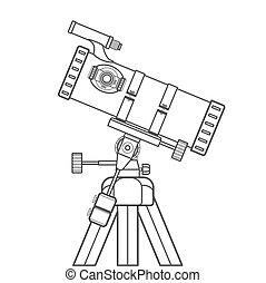 vector outline reflecting telescope illustration - vector...