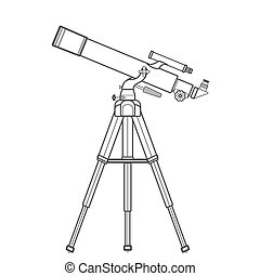 vector outline refracting telescope illustration - vector...