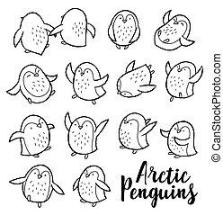 Vector outline set with arctic penguins
