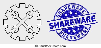 Vector Outline Tools Gear Icon and Scratched Shareware ...