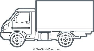 Vector outline truck
