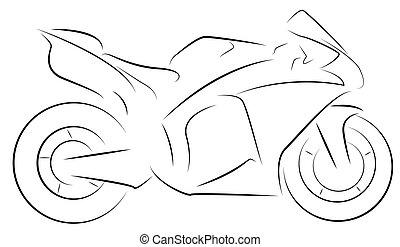 Supersport motor - Vector outlines of a Supersport motor