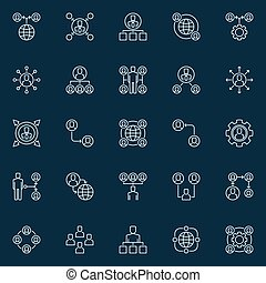 Vector outsourcing outline concept icons or design elements