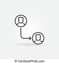 Vector outsourcing outline minimal icon