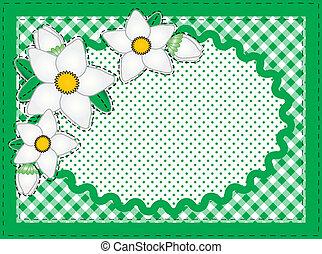vector, ovaal, grens, met, bloemen, en
