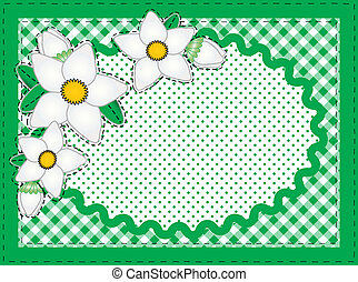 Vector Oval Border With Flowers and