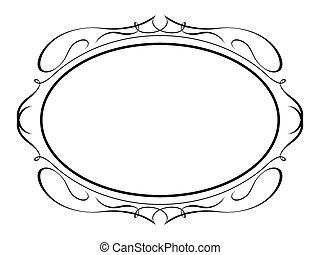 Vector oval calligraphy ornamental penmanship decorative frame
