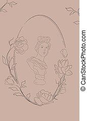 Vector oval floral frame with Jasmine Flowers