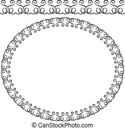 Vector oval frame on white background