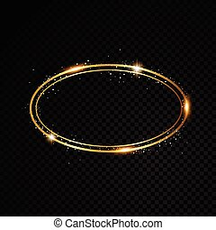 Vector oval frame. Shining circle banner. Isolated on black transparent background. Vector illustration