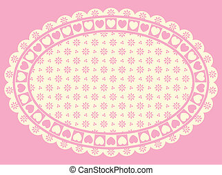 Oval Vector Heart border with Victorian eyelet copy space in shades of pink and ecru.