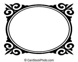 Vector oval ornamental decorative frame pattern background