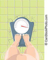 Vector overweight concept - Overweight concept - fat person...