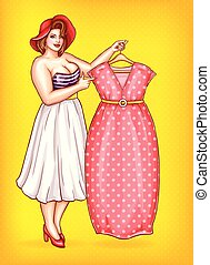 Vector overweight woman, tailor pointing at dress - Vector...