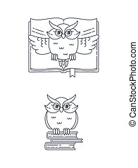 Vector owl and books.