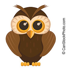 Vector owl bird - Vector owl bird, isolated on white...