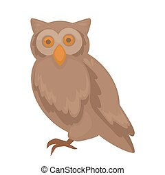 Vector owl character. isolated on white