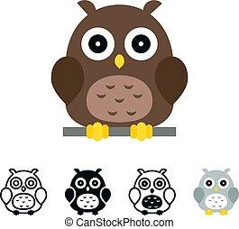 Vector owl icons set, flat design