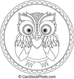Vector owl illustration. Picture for coloring.