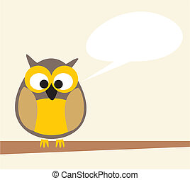 Vector owl on the branch talking