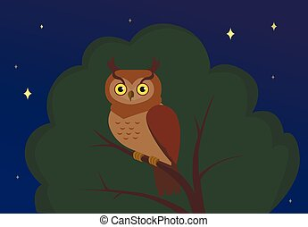 Vector owl sitting on a tree at night