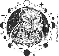Vector owl tattoo or t-shirt print design