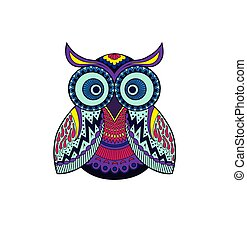 Vector owl with abstract ornament pattern