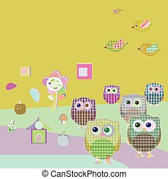 vector owls and birds on tree branches. nature element set