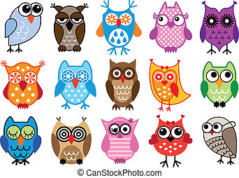 vector owls - set of colorful owls, vector illustration