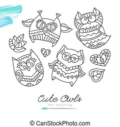 owls for coloring