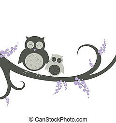 Vector owls on a decorative branch