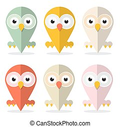 Vector Owls Set Illustration Isolated on White Background