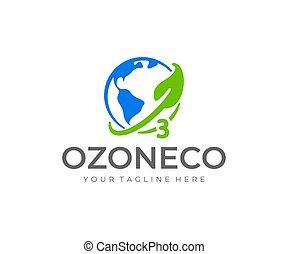 vector, ozono, mundo, diseño, logotipo, design., día