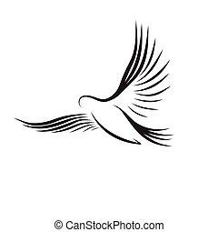 vector, pájaro del vuelo, en, contornos, blanco, plano de fondo