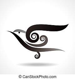 vector, pájaro, icono