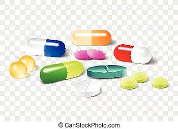 vector, píldoras, plano de fondo, diferente, transparente
