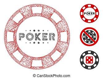 vector, póker, casino, tela, ilustración, malla, astilla, ...