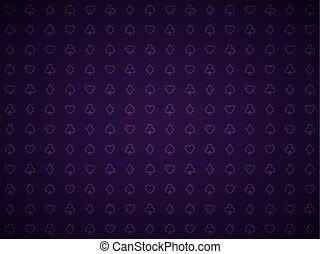 vector, póker, fondo púrpura, naipe, símbolos, patrón, veintiuna