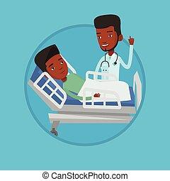 vector, paciente, illustration., doctor, visitar