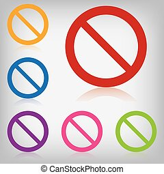 vector pack colorful sign forbidden