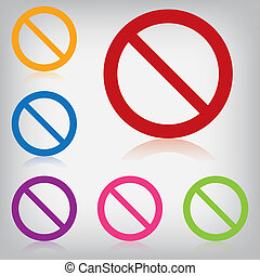 vector pack colorful sign forbidden isolated