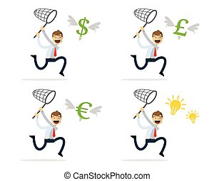 Vector pack of businessman catching money and ideas