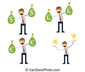 Vector pack of businessman got money and ideas