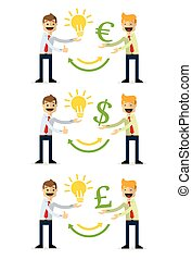 Vector pack of businessman selling ideas