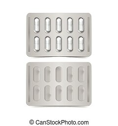 Vector Pack of Capsules Isolated on White Background