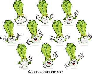 Vector pack of lettuce mascot, vector set of lettuce ...