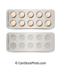 Vector Pack of Orange Pills Isolated on White Background