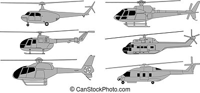 helicopters - vector pack of various high detailed...