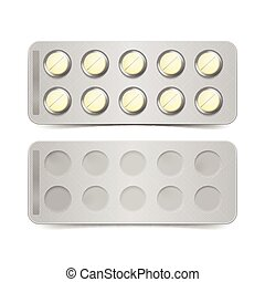 Vector Pack of Yellow Pills Isolated on White Background